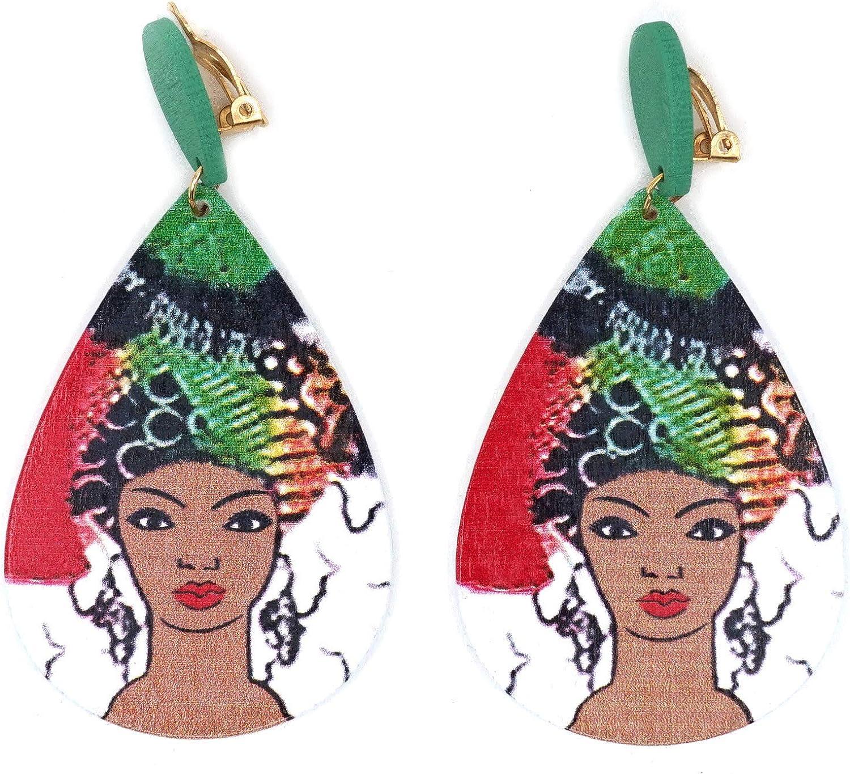 Teri's Boutique African Women Portrait Women Painted Teardrop Colorful Long Dangle Fashion Jewelry Clip On Earrings