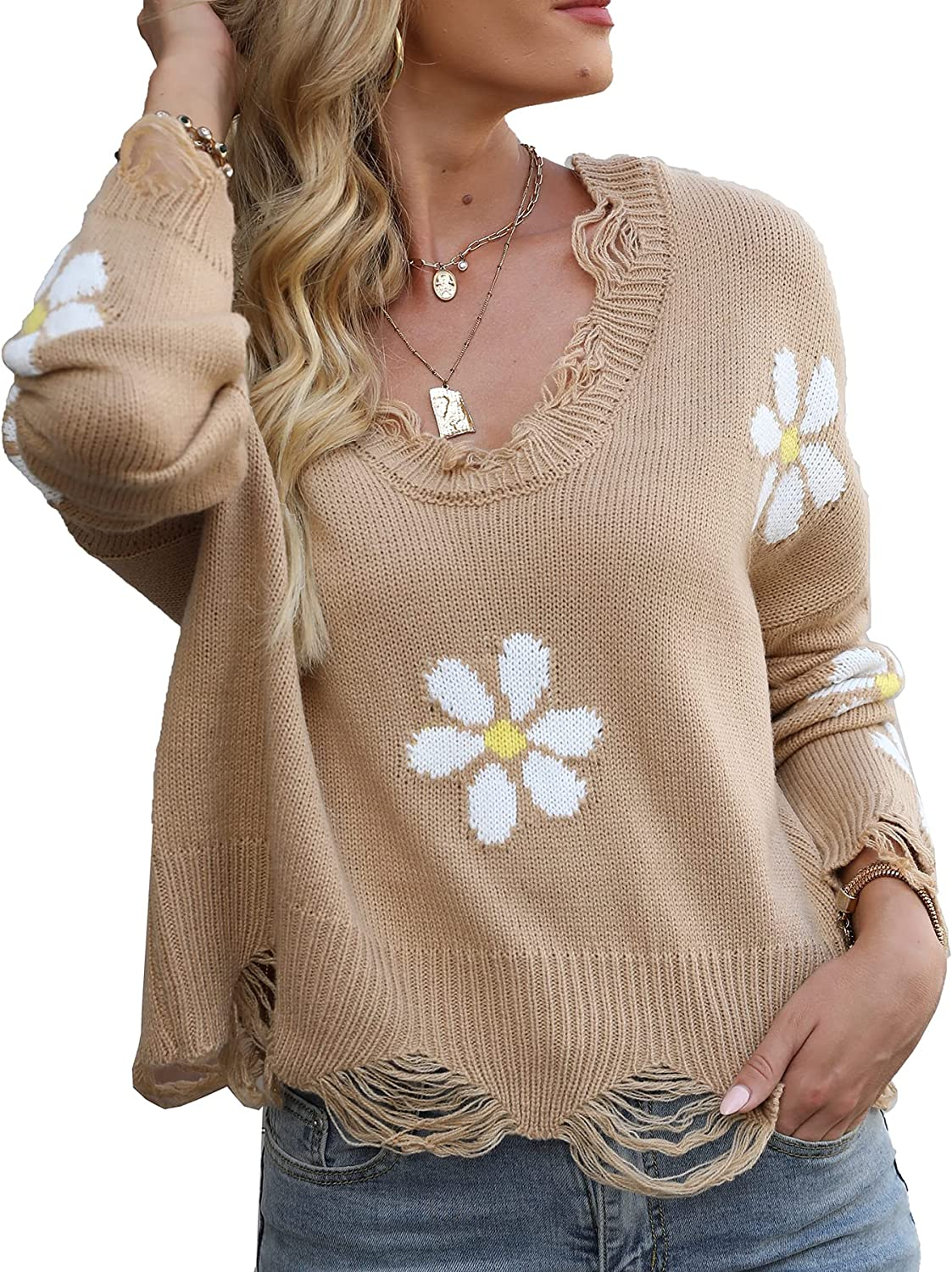 Women's Ripped Sweater Long Sleeve Knitted Daisy Emoji Pullover Crop Top Knit Jumper