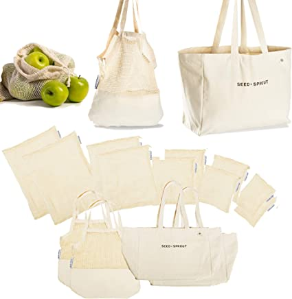 14 Piece Farmers Market Shopping Bag Set | 🌱Organic Cotton Mesh, Canvas and String Produce Bags and Totes