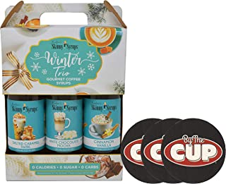 Jordan's Skinny Syrups Sugar Free Winter Trio with 3 By The Cup Coasters