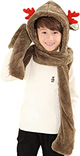 PULAMA Novelty Animal Hat Cosplay Cap - Unisex Fit Adult & Children- Soft Warm Headwraps Headwear with Mittens (Brown)