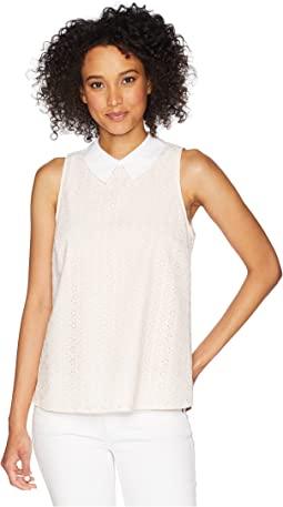 Sleeveless Ditsy Cotton Eyelet Collared Blouse