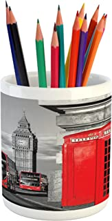 Ambesonne London Pencil Pen Holder, London Telephone Booth in The Street Traditional Local Cultural England UK Retro, Ceramic Pencil Pen Holder for Desk Office Accessory, 3.6