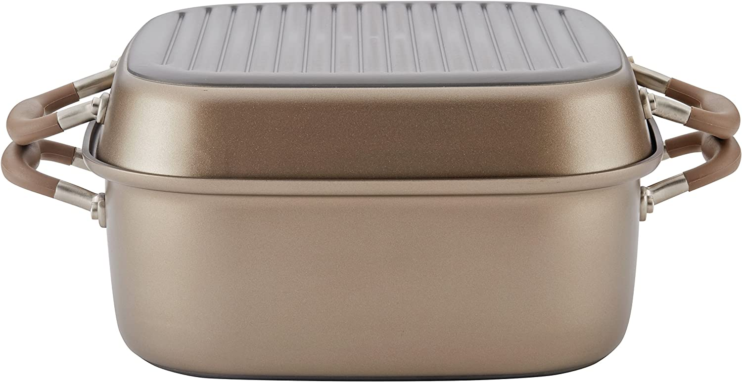 Anolon Advanced Nonstick 2-in-1 Deep Square Grill Pan and Square Roaster, 11-Inch, Bronze