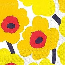 """Boston International C552671 Ihr Marimekko Floral Beverage Paper Napkins, 5"""" x 5"""", Unikko Dark Yellow"""