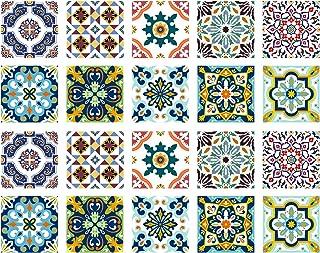 Poromoro Spanish Portuguese Azulejo Style Backsplash Peel and Stick Tile Stickers Set of 20 pcs(5.9_Y)