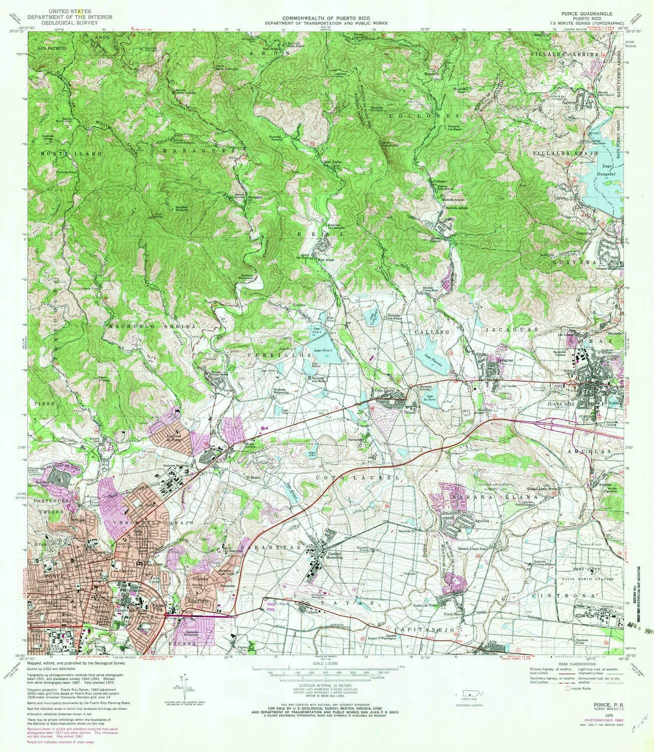 YellowMaps Ponce PR Free shipping anywhere in the nation topo map 1:20000 supreme X Minute H 7.5 Scale