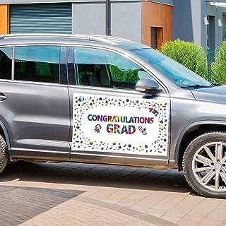 DARUNAXY 2 Pieces Graduation Parade Car Decorations, Happy Congrats Graduate Car Banner with Rope and Suckers for Congradu...