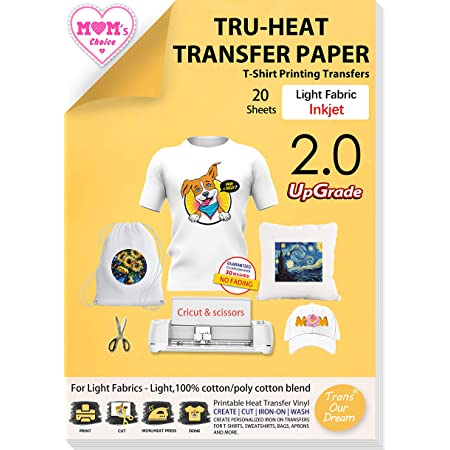 TransOurDream Tru-Transfer Paper 20 Sheets A4 Inkjet Iron on Heat Transfer Paper for Light Fabric Upgraded Cricut Transfer Paper for White T-Shirts Printable Heat Transfer Vinyl (TOD-4)