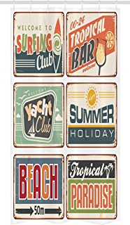 Ambesonne Retro Stall Shower Curtain, Summer Holiday Vintage Camping Beach Sign Boards in Old Style Faint Colors Art Print, Fabric Bathroom Decor Set with Hooks, 36