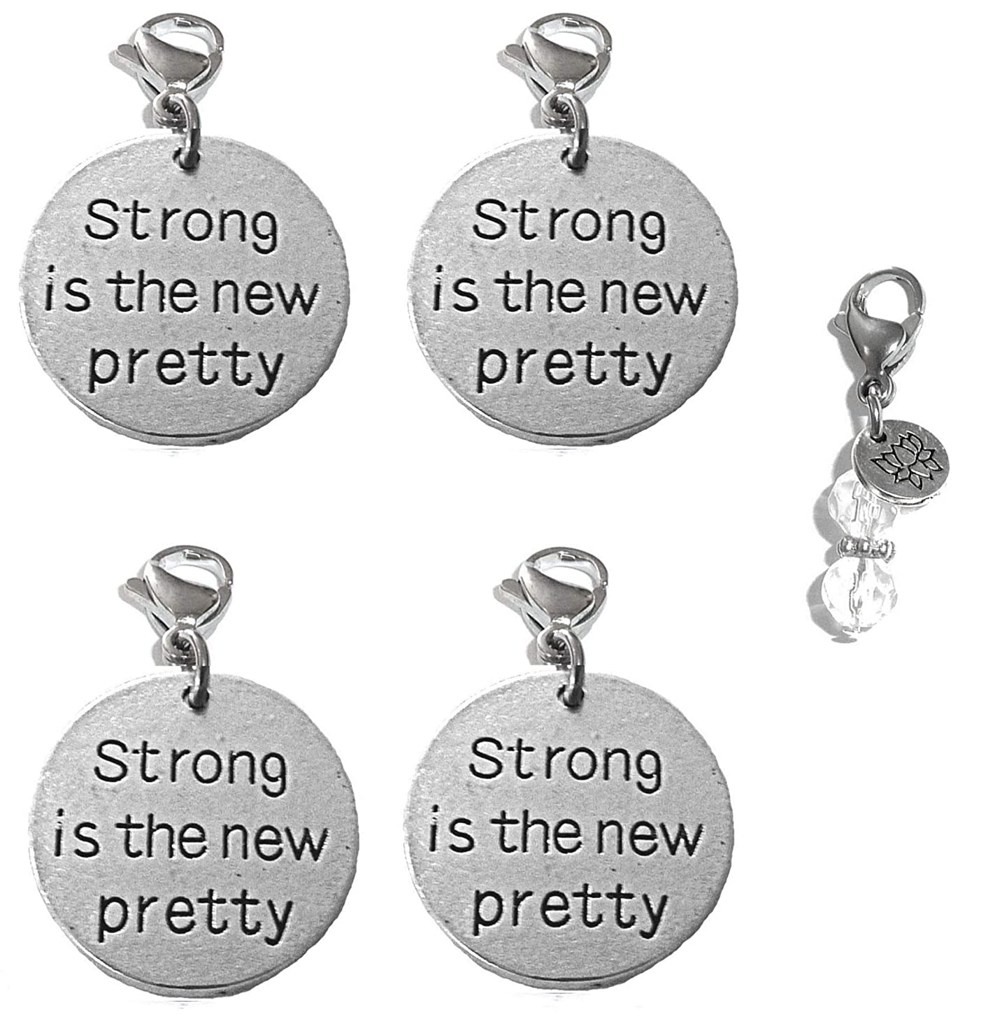 Hidden Hollow Beads Set of 4 Clip On Charms, Bag, Purse, Handbag, Message, Keychain, Zipper Pull, Bracelets, Necklaces, Jewelry