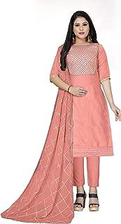 Maroosh Women'S Cotton Fabric Pink Color Chudidar Free Size Dress Material