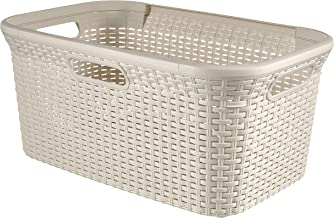 Curver Polypropylene Laundry Basket, 45 litres, Off White