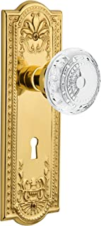 "Nostalgic Warehouse 752248 Meadows Plate Passage with Keyhole Crystal Door Knob Backset Size: 2.75"" Unlaquered Brass"