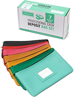 Professional Money Bank Deposit 7 Bag Set - Cash, Coin and Receipt Pouches with Zippers - 11x6 Inches - One for Every Day of The Week - Multi-Color Industry Leading Bags