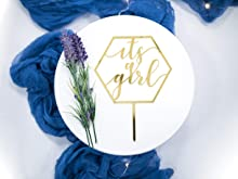 LS Designs It's a Girl Baby Shower Cake Topper Hexagon 6 inches x 7 inches Gender Reveal Baby Shower Gold Acrylic Oh Baby Cake Topper
