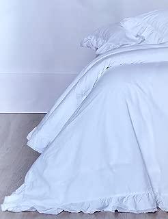 Piubelle Ruffled King Duvet Comforter Quilt Cover 3pc Set 100% Cotton Shabby Chic Piu belle French Style Fringed Duvet Cover White Double Ruffle
