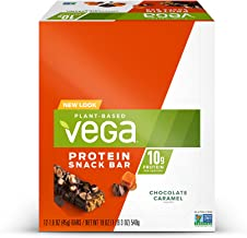 Vega Protein Snack Bar Chocolate Caramel (12 Count) - Plant Based Vegan Protein Bars, Non Dairy, Gluten Free, Non GMO
