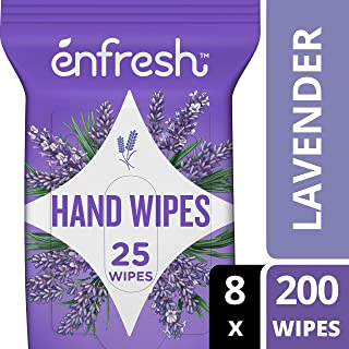 Enfresh Soothing Lavender Naturally Derived Hand Wipes - Wipes Away 99.9% of Germs - 25 Count (Pack of 8, 200 Wet Wipes), White