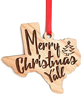 Texas Ornament Merry Christmas Y'all - XMas Gift Idea for Texan Family & Friends - Southern Humor Gifts for the Holidays/X-Mas - Cherry Plywood Ornaments - Comes with Gift Box & Ready to Hang