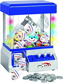 Claw Machine - Arcade Mini Toy Grabber Machine for Kids - Candy Machine- Retro Carnvial Music & Flashing Lights- Best Birthday Gift Game. Use Gumballs, Candy, Toys, or Small Prizes (Blue)