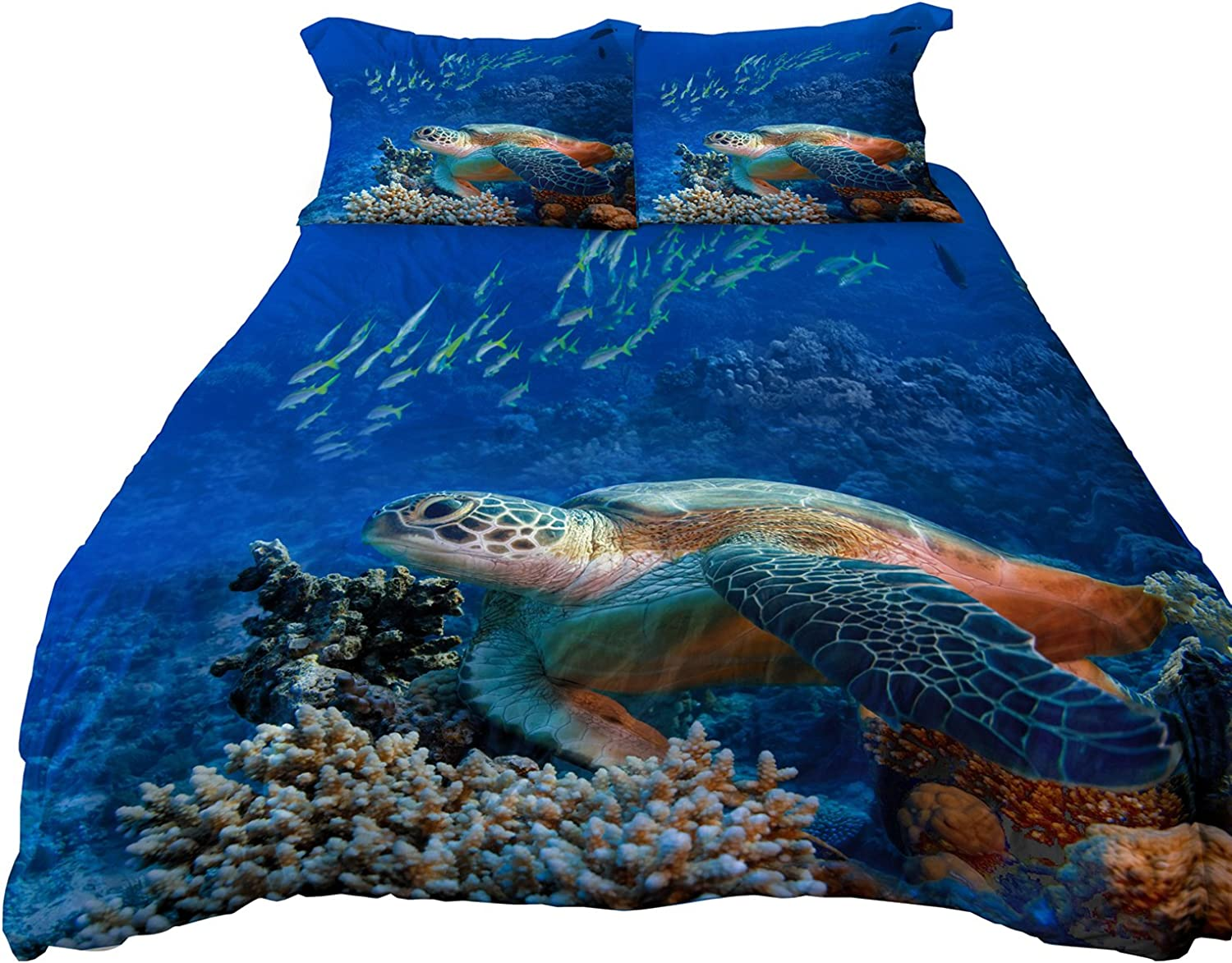 A Anoleu Microfiber Reversible Bedding Sets, Printed Sea Turtle Bedding Set, Reverse Dolphin Bedding, 3-PC Queen Size Duvet Cover Set (Queen)