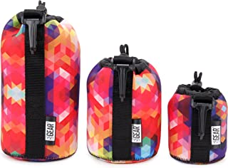 USA GEAR FlexARMOR Protective Neoprene Lens Case Pouch Set 3-Pack (Geometric) - Small, Medium and Large Cases Hold Lenses up to 70-300mm with Drawstring Opening, Attached Clip, Reinforced Belt Loop