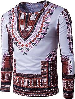 Tootlessly-Men Print Long-Sleeved Scoop Neck Folk Style Elegant Pullover Top