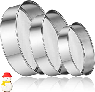 3 Pieces Stainless Steel Round Flour Sifter 6 Inch and 8 Inch 60 Mesh 7 Inch 40 Mesh Sieve Fine Mesh for Bake Decorate Cak...