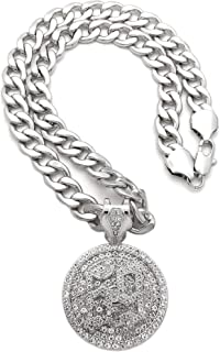 NYFASHION101 Stone Stud 69 Round Medal Spinner Pendant with 11mm Cuban Chain Necklace