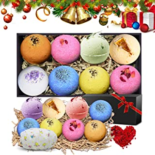 N-LIfe Bath Bombs Ideal Gifts Set for Women 8 Lush Fizzies Handmade Essential Oils Spa Organic and Natural Scent with Free Petals bathing Cap For Relaxation Party Christmas Valentine's Day Birthday