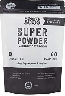 Molly's Suds Super Powder Detergent, Natural Extra Strength Laundry Soap, Stain Fighting and Safe for Sensitive Skin, 60 Loads, Unscented