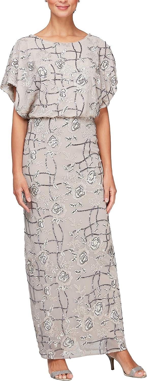 Tampa Mall Alex Evenings Elegant Women's Long Blouson Dress with Flutter Sleeves