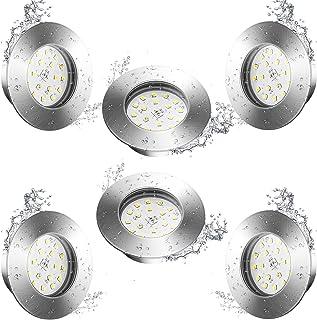 6 Spot LED Encastrable IP44 pour Salle de Bain, Wowatt Plafonnier Encastré LED Étanche Extra Plat 6W LED Blanc Chaud 2800K...