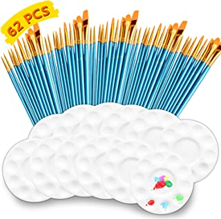 CODOHI 62 Packs Paint Brush Set- 50pcs Assorted Brushes with 12pcs Painting Tray Palettes for Craft DIY Art Projects