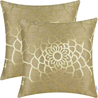 CaliTime Cushion Covers Pack of 2 Throw Pillow Covers Cases for Couch Sofa Home Decor Modern Shining & Dull Contrast Dahli...