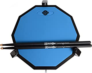 Tromme Drum Practice Pad and Carrying Case , 12 Inch Silicone with Wooden Base and Real Drum Feel ,Sticks and Stand Not Included (Blue)