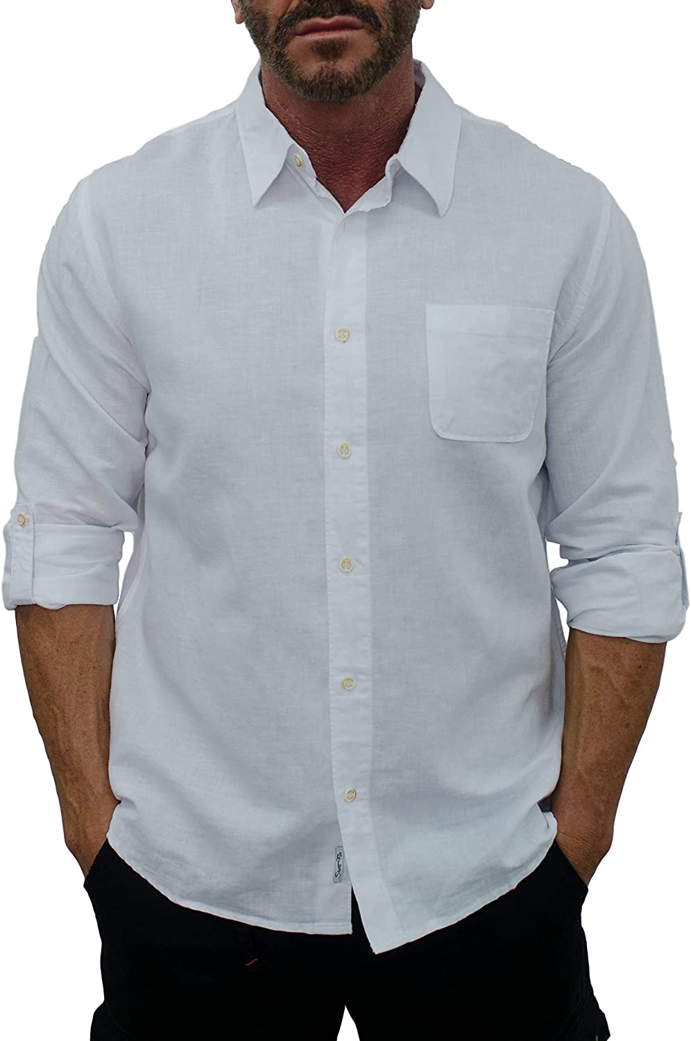 Oakland Mall short fin Men's Long Indefinitely Sleeve Linen up Sleeves Shirt roll with