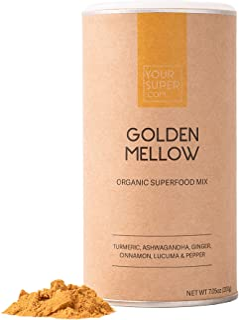 Your Super Golden Mellow Superfood Mix - Golden Milk Latte, Anti-inflammatory, Non-GMO, Organic Turmeric, Ashwagandha, Gin...