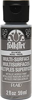 FolkArt Multi-Surface Metallic Paint in Assorted Colors (2 oz), 6314 Metallic Nickel