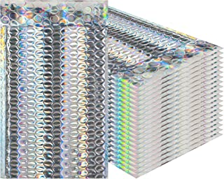 AMZ Supply Bubble mailers 5x9 Padded envelopes 5 x 9 by Amiff. Pack of 25 Glamour Holographic cushion envelopes. Exterior size 6x10 (6 x 10). Peel & Seal. Metallic. Mailing, packing, packaging,