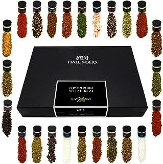 Hallingers 24er Gewürz-Geschenk-Set mit Gewürzen aus aller Welt 425g - Gewürze Deluxe Selektion 24 Deluxe-Box - zu Liebe & Hochzeit