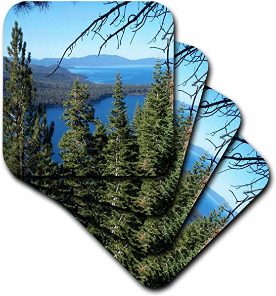 3dRose Cst 26409 1 Fallen Leaf Lake And Lake Tahoe South Shore Soft Coasters Set Of 4