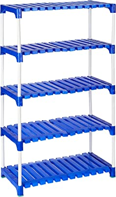 Amazon Brand - Solimo Multipurpose Rack for Shoes and Clothes, 5 Racks, Blue