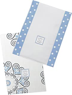 SwaddleDesigns Baby Burpies, Set of 2 Cotton Burp Cloths, Blue Medallions