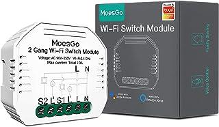 MoesGo 2 Gang Módulo Mini de interruptor inteligente activado por wifi controlado con las apps Smart Life y Tuya y control...