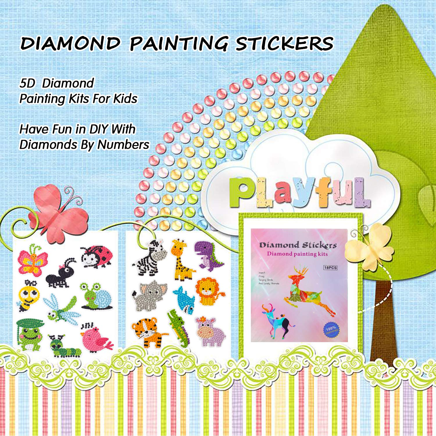 CUENE 18pcs 5D Diamond Painting Kits for Kids Cartoon Diamond Sticker Painting Environmentally Friendly Resin Diamond Painting Stickers Kits for Children Boys and Girls Gifts