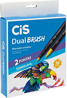 Marcador Artístico Aquarelável Dual Brush, CIS, Dual Brush 58.0300, Multicor, pacote de 36
