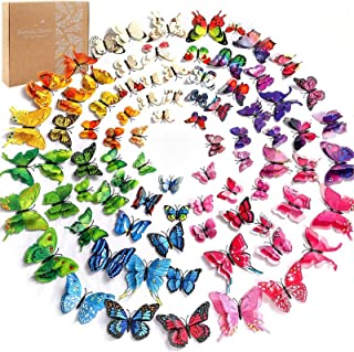 96pcs 3D Butterfly Removable Mural Stickers Wall Stickers Decal with Double Wing, 8 Colours,with 1 Sheet of Dot Glue Stick...