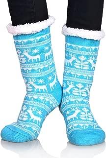 Women Girls Winter Fleece Lining Snowflake Deer Christmas Gift Slipper Socks Collection
